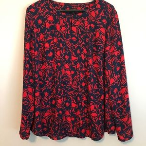 Talbots Navy and Red Floral print Blouse
